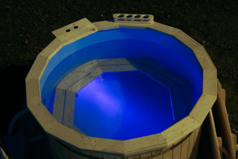 Wooden hot tub with water